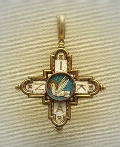 British Museum- Mosaic cross pendant - The dove of the holly spirit, about 1860