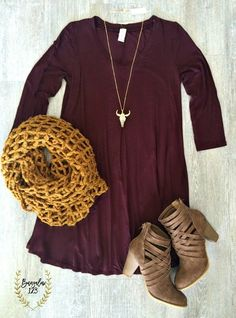 B123 Luxe Bamboo 3/4 Sleeve V-Neck Tunic Dress - Deep Wine
