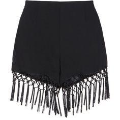 Fringe Black Shorts (185 MYR) ❤ liked on Polyvore featuring shorts, bottoms, high waisted fringe shorts, high-waisted shorts, highwaist shorts, woven shorts and high-rise shorts