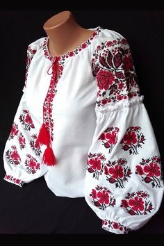 Ukrainian blouse vyshyvanka/Vyshyvanka/Peasant blouse/Vita - Style/embroidered shirt/ blouse/Ukrainian clothing/women's clothing Indian Gowns Dresses, Pakistani Dresses, Ukrainian Dress, Fiesta Outfit, Bohemian Blouses, Dressy Tops, Peasant Blouse, White Fashion, Business Fashion