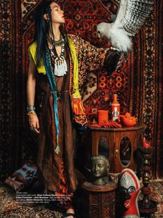Harper's BAZAAR Indonesia Photography Nicoline Patricia Malina Model Darell Ferhostan Nomad Fashion, Ethnic Fashion, Colorful Fashion, New Fashion, Boho Fashion, Bohemian Mode, Bohemian Style, Look Festival, Russian Wedding