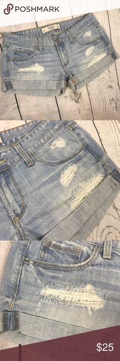 """Abercrombie & Fitch Destroyed Shorts These shorts are gently used, good destroyed  condition. Measurements approx:  Waist - 15.75"""" across laying flat Inseam - 2"""" Rise - 7.5""""  Please see all photos and bundle for more savings.  Thanks! Abercrombie & Fitch Shorts Jean Shorts"""