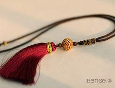 $188 - Xiu Qiu. Relief Hollow Gold over brass beads Pendants -  SKU: 988121 #BENSE #Jewelries #Necklaces --- Materials:Brass / Size:LENGTH/64cm, Φ=1.1CM --- keywords: jeweller, jewelry for men, funky jewellery, funky jewelry, the art of jewelry design,