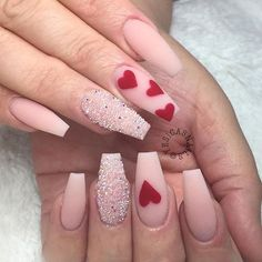 heart nail designs, Heart nail styles aren't just for Valentine's Day. you'll be able to conjointly produce cute hearts on your nails once you feel romantic Valentine's Day Nail Designs, Acrylic Nail Designs, Nails Design, Acrylic Nails, Heart Nail Designs, Coffin Nails, Pink Coffin, Stiletto Nails, Nail Designs With Hearts