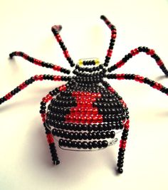 Black Widow Beaded Spider Ornament Inspired by Comics
