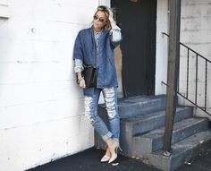 Current Elliott coat, Madewell top, Nordstrom denim, Chanel bag and Vince heels.. #happilygrey #denimondenim