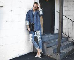 Current Elliott coat, Madewell top, Nordstrom denim, Chanel bag and Vince heels.. #happilygrey #denimondenim