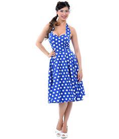 Blue & White Polka Dot Mariam Swing Dress - Unique Vintage - Prom dresses, retro dresses, retro swimsuits.