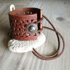 Tribal Leather Cuff with Bone Feather Gypsy Coin by GypsyIntent