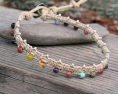 Items similar to Shell Spike Hemp Macrame Anklet - Natural Bohemian Hippie on Etsy