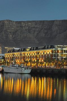 Cape Grace Hotel, overlooking Table Mountain, Cape Town, South Africa -- see also Lionshead and Seven Sisters mountain range -- beautiful!