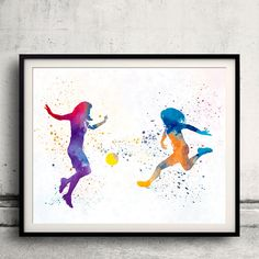 Women soccer players 01 - Fine Art Print Glicee Poster Home Watercolor sports Gift Room Children's Illustration Wall - SKU 2297 by Paulrommer on Etsy