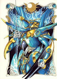 Umi Ryuuzaki from Magic Knight Rayearth with her water Mashin (Celes? She controls my favorite element and is, in my opinion, the most beautiful of the Magic Knights. Manga Anime, Anime Art, Magic Knight Rayearth, Xxxholic, Pokemon, Manga Artist, Fantasy Armor, Cardcaptor Sakura, Magical Girl