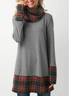 ModLily Cowl Neck Long Sleeve Grey T Shirt