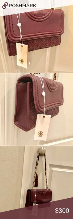 """💄SALE🧣Tory  Burch FLEMING CONVERTIBLE bag Holds a 7"""" tablet, a continental wallet, an iPhone 6 Plus and a lip color Leather Flap with magnetic snap closure Adjustable leather-and-chain strap with 23.31"""" (58.5 cm) drop 1 exterior back pocket 2 interior slit pockets, 1 zipper pocket Removable tassel Can be worn as a shoulder bag or cross-body Height: 7.79"""" (20 cm) Length: 10.76"""" (27 cm) Depth: 3.19"""" (8 cm) Bags Crossbody Bags"""