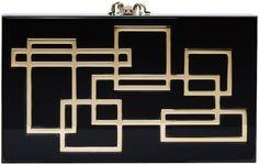 Charlotte Olympia Black Geometric Perspex Pandora Box Clutch