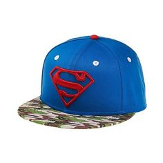 Superman Baseball Hat ($15) ❤ liked on Polyvore featuring men's fashion, men's accessories and men's hats