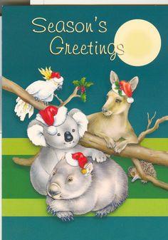 Pictures of Christmas cards with Australiana themes, eg. kangaroos and koalas. Free Printable Christmas Cards, Homemade Christmas Cards, Christmas Photo Cards, Vintage Christmas Cards, Christmas Greeting Cards, Diy Christmas Gifts, Christmas Photos, Christmas Greetings, Christmas Projects