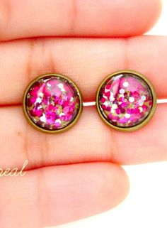 Hot pink Antique Brass Post Earrings
