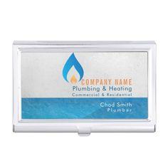 Plumber heated water drop logo business card case Custom office supplies #business #logo #branding