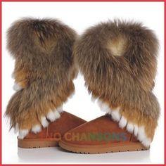Online Shop Free shipping 2013 winter warm high long snow boots artificial fox rabbit fur leather tassel women's shoes, Woman's choice|Aliexpress Mobile