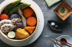 Simply Steamed    Vegetables: lotus root, annou sweet potato, carrot, pumpkin, red onion, zucchini, midi tomato, shimeji mushrooms, myoga, manganji sweet pepper    Miso and sesame sauce: miso, sesame seed paste, rice vinegar, sesame oil, sake, kinome    Simple but steamed vegetables are yummy!