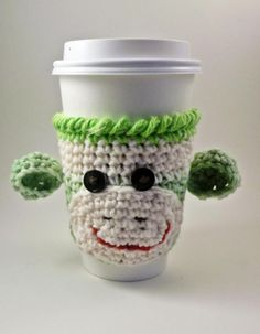 Coffee cozy - sock monkey - crochet. #cosy.   Here's a last minute idea for me!  :). This is adorable!
