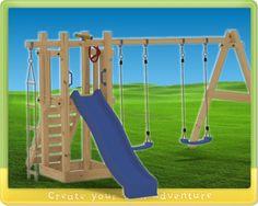 Dies ist eine Kombination vom Sunshine Spielturm und das Erweiterungsset Einzel nach Doppelschaukel.