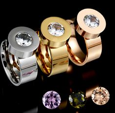 2016 Fashion 4 Color Zircon Crystal Stone Interchangeable Rings 18K Gold 316L Stainless Steel Rings For Women -  http://mixre.com/2016-fashion-4-color-zircon-crystal-stone-interchangeable-rings-18k-gold-316l-stainless-steel-rings-for-women/  #Rings