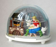 Vintage Woman & Two Pigeons Collectible Snow Globe by Ges Gesch #191