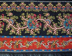 Norwich Turnover   1830's  Stunning. Great clear bright colours and unusual design. The borders on turnover shawls have two borders sewn on one way with the other two reversed, so when the shawl is folded into a triangle to be worn, both borders show.