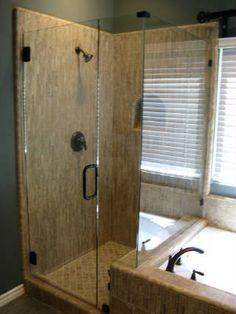Hall bath- All Corner Shower Gallery- shower floor House Bath, Shower Floor, Glass Shower, Home Projects, Future House, Master Bathroom, Tall Cabinet Storage, Tub, Door Handles