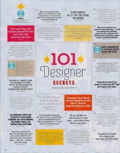 """101 Designer Secrets from House Beautiful May 2012.  Here are the first 25 """"secrets""""."""