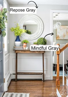All about Sherwin Williams Mindful Gray, including its undertones, how it compares to Repose Gray and Agreeable Gray and colors it works well with. MINDFUL GRAY hint of green Sherwin Williams Repose Gray, Sherwin Williams Gray Paint, Sherwin Williams Popular Gray, Modern Gray Sherwin Williams, Sherwin Williams Color Palette, Grey Paint Colors, Paint Colors For Home, Gray Room Paint, Living Room With Gray Walls