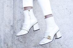 Gucci Marmont white ankle boots
