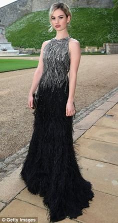 Actress Lily James arrives for a dinner to celebrate the work of The Royal Marsden