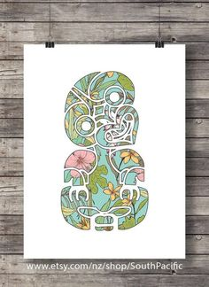 Tiki Tropical print Hibiscus flower pattern New Zealand Maori Tiki Floral Tiki Printable wall art tiki art print pacific islands art Maori Tattoos, Maori Symbols, Zealand Tattoo, Polynesian Art, Maori Designs, Tiki Art, New Zealand Art, Nz Art, Tattoo Motive