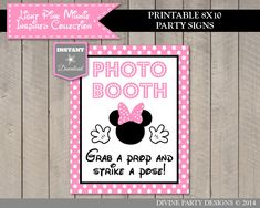 INSTANT DOWNLOAD Light Pink Mouse 8x10 Printable Photo Booth Grab a Prop Party Sign / Light Pink Mouse Collection / Item #1827 by DivinePartyDesign on Etsy