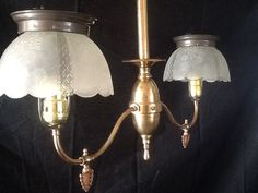 Antique Victorian 2 Arm Brass Gas Light Signed by AntiqueLights