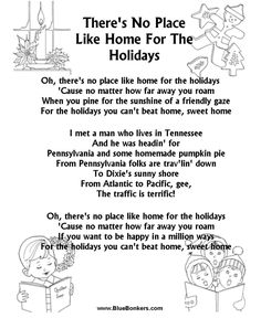Printable There's no place like Home for the Holidays - Christmas Carol Lyrics, Printable christmas Song sheets, free christmas lyrics sheets, printable christmas song words Christmas Carols Songs, Christmas Songs Lyrics, Christmas Poems, Christmas Music, Christmas Holidays, Carol Songs, Carol Lyrics, Song Lyrics, Holiday Lyrics