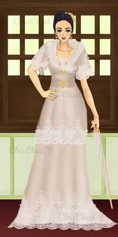 Filipiniana wedding gown inspiration Filipiniana Wedding, Filipiniana Dress, Wedding Gowns, Formal Gowns, Formal Wear, Filipino Wedding, Philippines Culture, Fashion Dresses, Women's Fashion