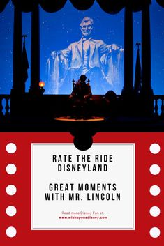 Rate the ride Great Moments with Mr. Lincoln at Mainstreet USA in Disneyland California. Disneyland Outfits, Disneyland Tips, Disneyland Park, Disneyland Resort California, Disney Rides, July 18th, Important Facts, More Fun, Lincoln