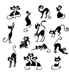 Black cats vector on VectorStock®