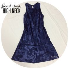 high neckline floral dress PRELOVED in good condition, no noticeable flaws or snags. high neckline with a small eyelet button back. dark navy blue in color.  size- 3/4 length- 34.5 inches from shoulders down, laying flat width- 17 inches laying flat at waist  BUNDLE FOR BETTER PRICE- please don't hesitate to ask questions. thanks for looking ☺️ Dresses