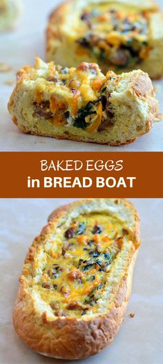 Baked Eggs in Bread Boat filled with eggs, sausage, vegetables, and cheese is the best way to start the day! Crusty french loaves baked until golden and bubbly are perfect for everyday breakfast or a special Sunday brunch.