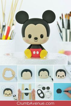 cute Mickey Mouse cake topper how to make step by step free tutorial templates cake decorating sugar art craft hobby fun kids birthday boy girl idea polymer clay inspiration Crumb Avenue easy simple pictorial baby Fondant Cake Toppers, Fondant Figures, Birthday Cake Toppers, Birthday Cakes, Fondant Cupcakes, Cupcake Toppers, Mickey Mouse Cake Topper, Unicorn Cake Topper, Mickey Cakes