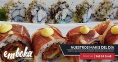 Ven a probar nuestros Makis del día, el Español de jamón ibérico, sobrasada y queso; y el de gambas, boca de mar y salsa kimchee. ¿Apetece? estamos en La Flota, Murcia. Tlf: 968241668
