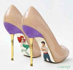 I HAVE TO HAVE THESE!!!!!  Custom hand painted Little Mermaid pumps by AshtonAtelier on Etsy, $45.00