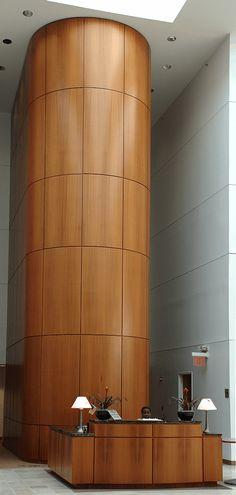 wooden cladded column reception design