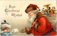 Printable Christmas cards - vintage postcard by Ellen Clapsaddle, child, Santa Claus, letter